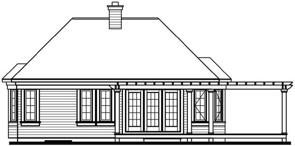 House Plan 64922 with 2 Beds, 1 Baths Rear Elevation