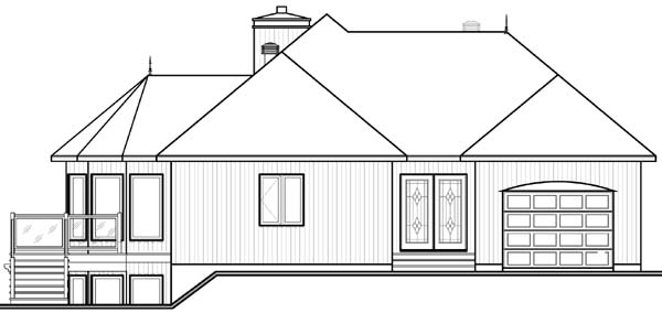 Contemporary, Craftsman House Plan 64972 with 2 Beds, 2 Baths, 1 Car Garage Rear Elevation