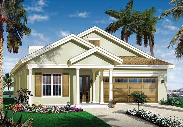 Florida House Plan 64977 with 3 Beds, 2 Baths, 2 Car Garage Front Elevation