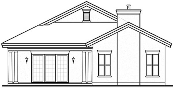 Florida House Plan 64977 with 3 Beds, 2 Baths, 2 Car Garage Rear Elevation