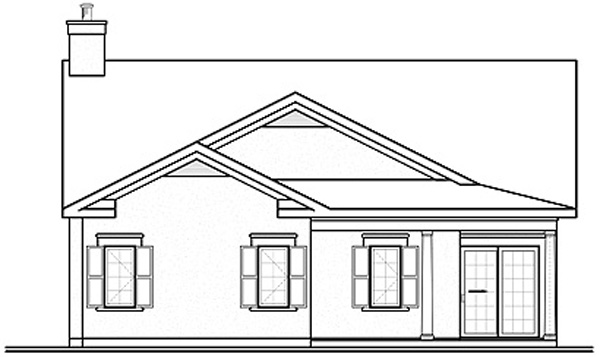 Florida House Plan 64978 with 3 Beds, 2 Baths, 2 Car Garage Rear Elevation