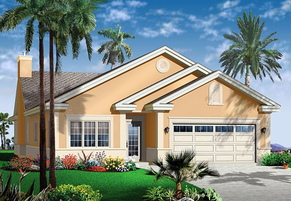 Florida House Plan 64979 with 3 Beds, 3 Baths, 2 Car Garage Front Elevation