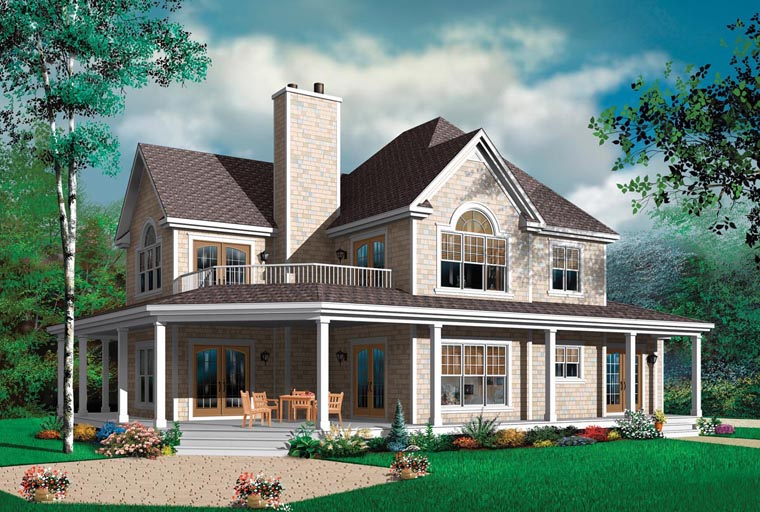 Country, Farmhouse House Plan 64980 with 4 Beds, 4 Baths, 3 Car Garage Elevation