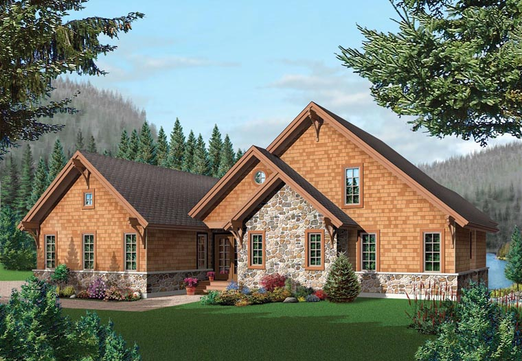Coastal, Country, Craftsman House Plan 64981 with 5 Beds, 4 Baths, 2 Car Garage Front Elevation