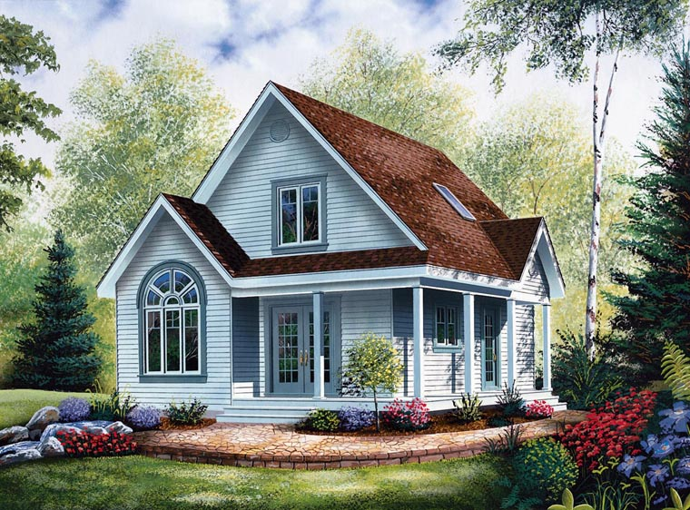Cabin, Country House Plan 64983 with 2 Beds, 2 Baths Front Elevation