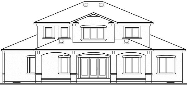 Florida House Plan 64984 with 6 Beds, 5 Baths, 2 Car Garage Rear Elevation