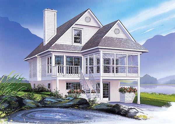 Coastal, Country House Plan 65000 with 3 Beds, 2 Baths Front Elevation