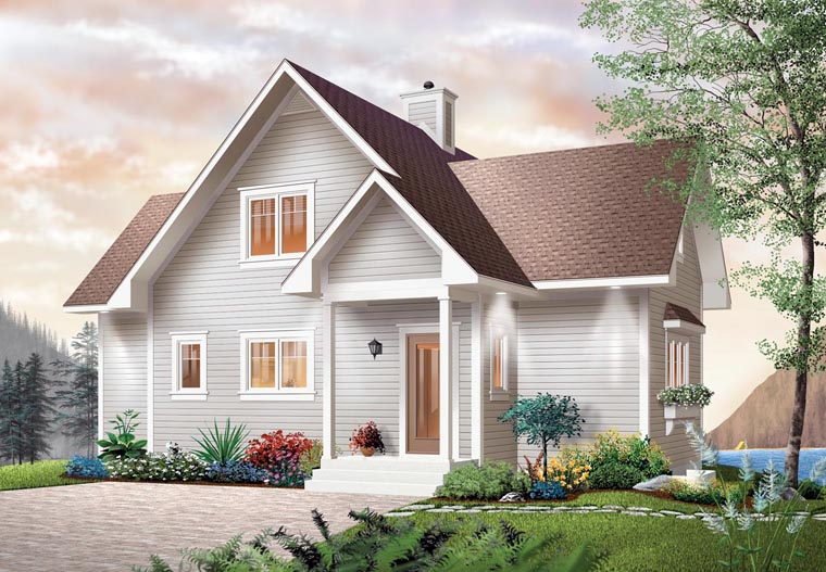 Bungalow, Coastal, Country, Craftsman House Plan 65001 with 2 Beds, 2 Baths Front Elevation