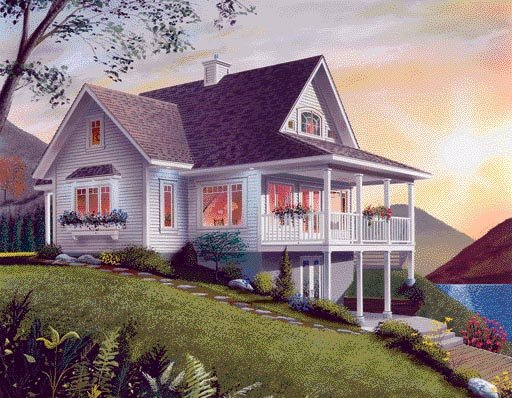 Bungalow, Coastal, Country, Craftsman House Plan 65001 with 2 Beds, 2 Baths Rear Elevation