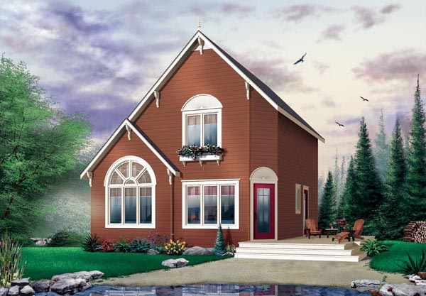 Cabin, Saltbox, Traditional House Plan 65003 with 2 Beds, 2 Baths Front Elevation