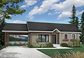 Bungalow, Country, One-Story, Ranch House Plan 65009 with 2 Beds, 1 Baths Front Elevation