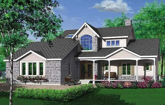 Country, Traditional, Victorian House Plan 65012 with 3 Beds, 3 Baths Rear Elevation