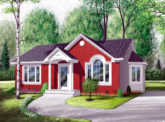 Bungalow, Narrow Lot, One-Story, Traditional House Plan 65030 with 2 Beds, 1 Baths Elevation