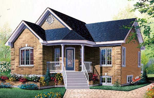 Country, Traditional House Plan 65056 with 2 Beds, 1 Baths Elevation