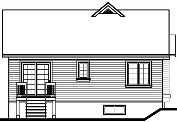 Country, Traditional House Plan 65056 with 2 Beds, 1 Baths Rear Elevation