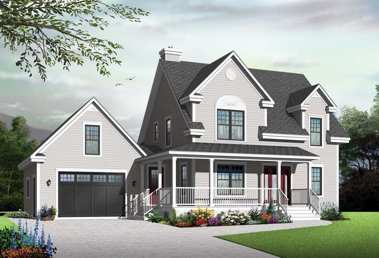 Country, Farmhouse House Plan 65088 with 3 Beds, 3 Baths, 1 Car Garage Elevation
