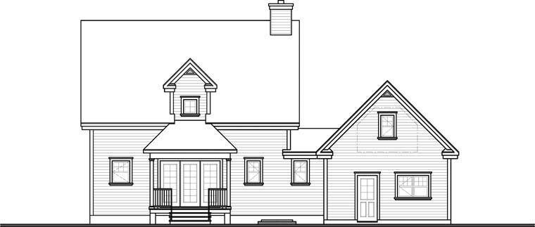 Country, Farmhouse House Plan 65088 with 3 Beds, 3 Baths, 1 Car Garage Rear Elevation