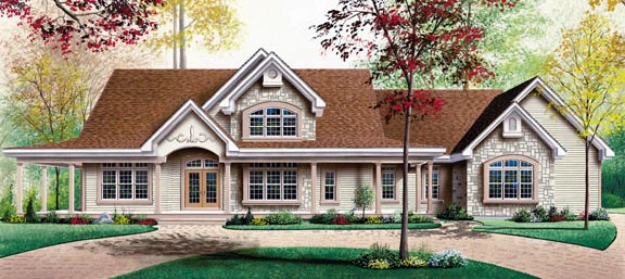 Country, Ranch, Traditional House Plan 65126 with 3 Beds, 3 Baths, 3 Car Garage Elevation