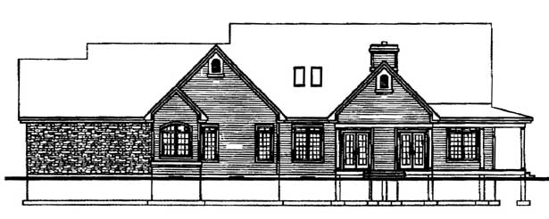 Country, Ranch, Traditional House Plan 65126 with 3 Beds, 3 Baths, 3 Car Garage Rear Elevation