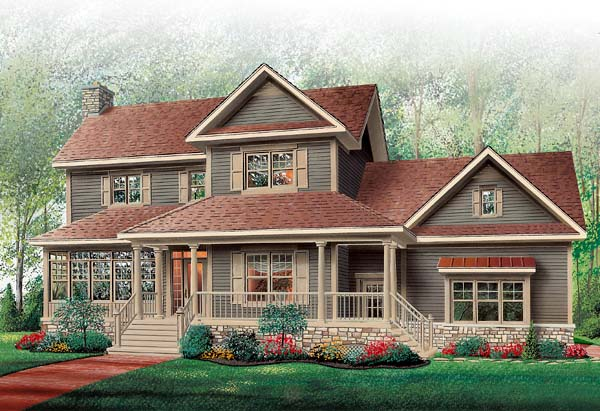 Country, Farmhouse House Plan 65135 with 3 Beds, 3 Baths, 2 Car Garage Picture 4