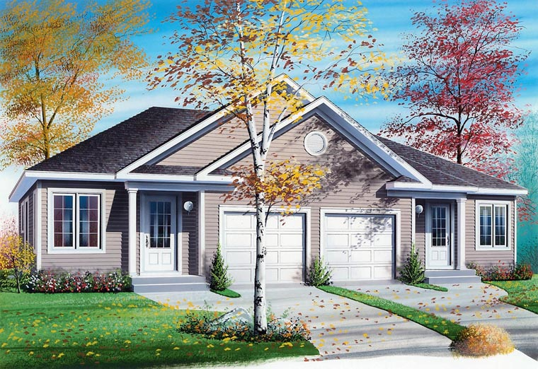 Traditional Multi-Family Plan 65136 with 2 Beds, 1 Baths, 1 Car Garage Elevation