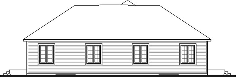 Traditional Multi-Family Plan 65136 with 2 Beds, 1 Baths, 1 Car Garage Rear Elevation