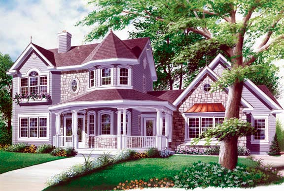 Country, Farmhouse, Victorian House Plan 65143 with 4 Beds, 4 Baths, 2 Car Garage Elevation