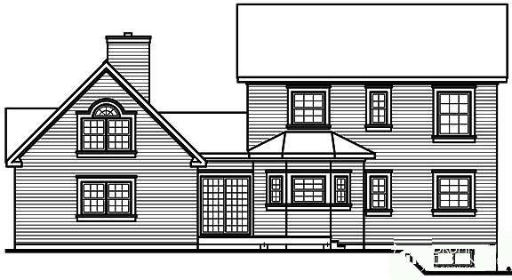 Country, Farmhouse, Victorian House Plan 65143 with 4 Beds, 4 Baths, 2 Car Garage Rear Elevation