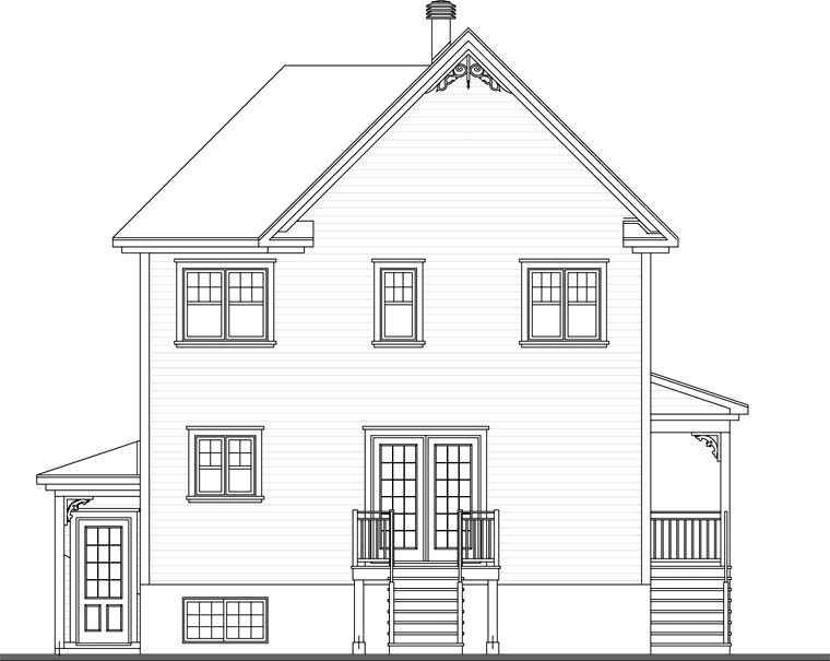 Country House Plan 65150 with 2 Beds, 2 Baths, 1 Car Garage Rear Elevation