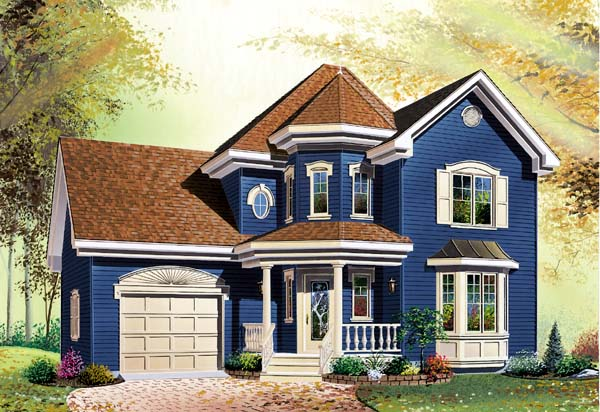 Country, Victorian House Plan 65204 with 3 Beds, 2 Baths, 1 Car Garage Elevation