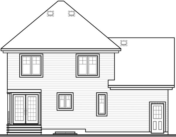 Country, Victorian House Plan 65204 with 3 Beds, 2 Baths, 1 Car Garage Rear Elevation