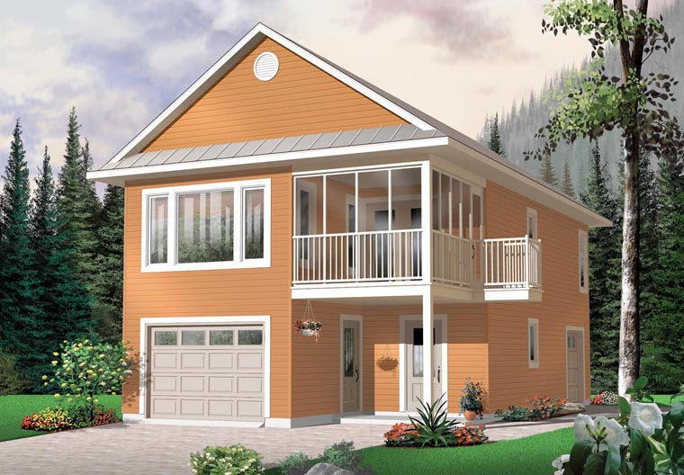 Traditional 2 Car Garage Apartment Plan 65215 with 2 Beds, 2 Baths Elevation