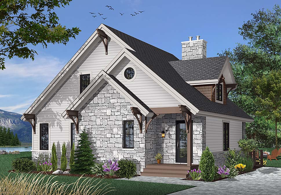 Bungalow, Cottage, Country, Craftsman House Plan 65246 with 3 Beds, 2 Baths Front Elevation