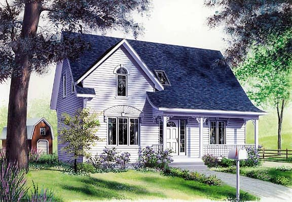 Country, Traditional House Plan 65249 with 3 Beds, 2 Baths Front Elevation