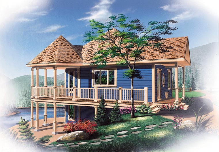Bungalow, Cabin, Coastal, Country, Victorian House Plan 65263 with 1 Beds, 1 Baths Elevation
