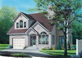 European House Plan 65304 with 3 Beds, 3 Baths, 1 Car Garage Elevation