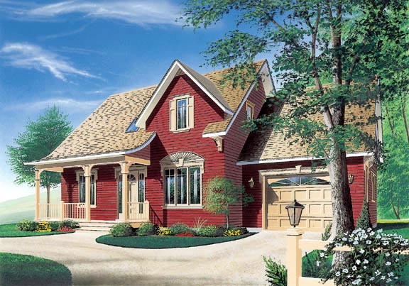 Bungalow, Country, Traditional, Victorian House Plan 65307, 2 Car Garage Elevation
