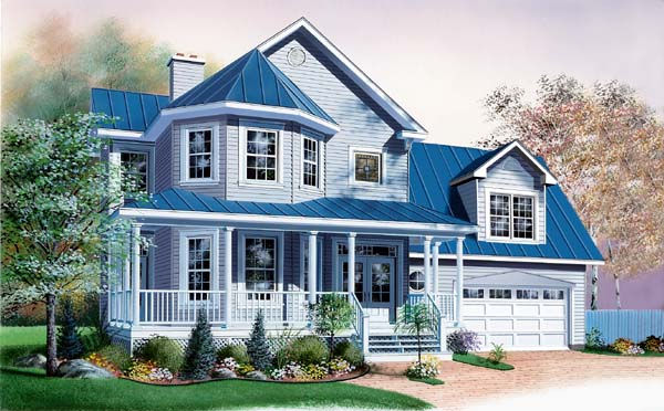 Country, Southern, Traditional, Victorian House Plan 65309 with 3 Beds, 3 Baths, 2 Car Garage Elevation