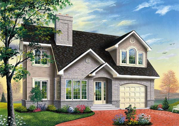 Traditional House Plan 65311 with 3 Beds, 3 Baths, 1 Car Garage Elevation