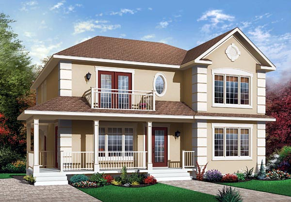 Narrow Lot, Traditional Multi-Family Plan 65338 with 6 Beds, 2 Baths Elevation