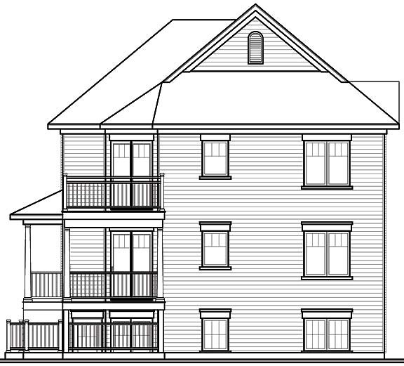 Narrow Lot, Traditional Multi-Family Plan 65340 with 6 Beds, 3 Baths Rear Elevation