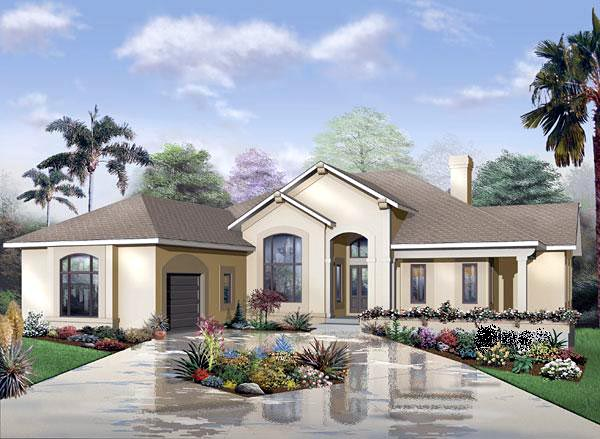 Florida, One-Story House Plan 65341 with 3 Beds, 3 Baths, 3 Car Garage Elevation