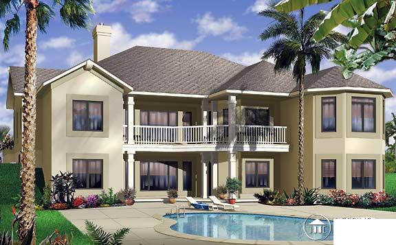Florida, One-Story House Plan 65341 with 3 Beds, 3 Baths, 3 Car Garage Rear Elevation