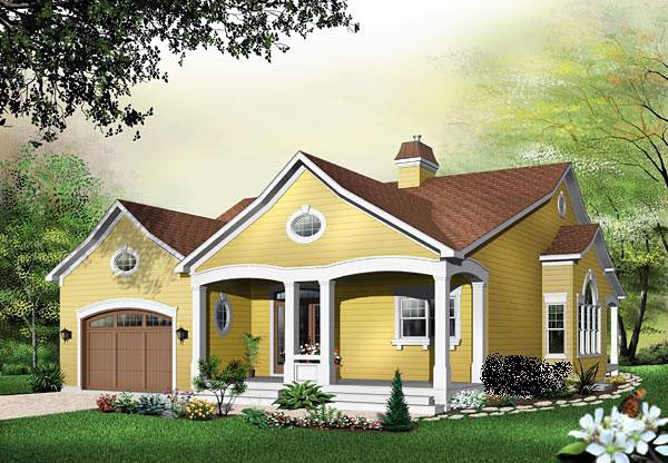 One-Story, Traditional House Plan 65343 with 3 Beds, 3 Baths, 1 Car Garage Front Elevation
