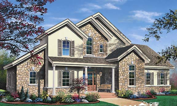 Contemporary, Traditional House Plan 65368 with 3 Beds, 3 Baths, 2 Car Garage Front Elevation