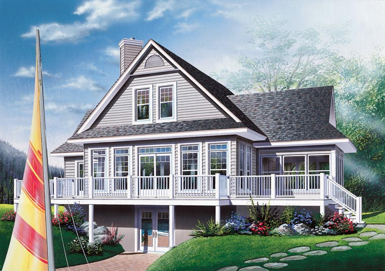 Coastal, Country, Craftsman, Traditional House Plan 65380 with 3 Beds, 2 Baths Rear Elevation