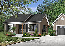 One-Story, Ranch House Plan 65387 with 2 Beds, 1 Baths Elevation