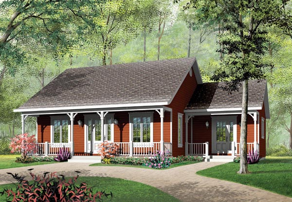 Bungalow, Cabin, Ranch House Plan 65395 with 3 Beds, 1 Baths Elevation