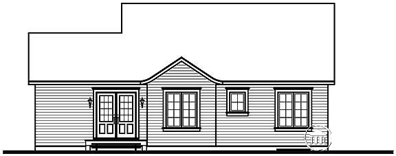 Bungalow, Cabin, Ranch House Plan 65395 with 3 Beds, 1 Baths Rear Elevation