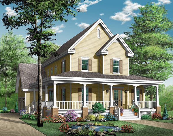Country, Southern House Plan 65423 with 4 Beds, 4 Baths, 2 Car Garage Elevation